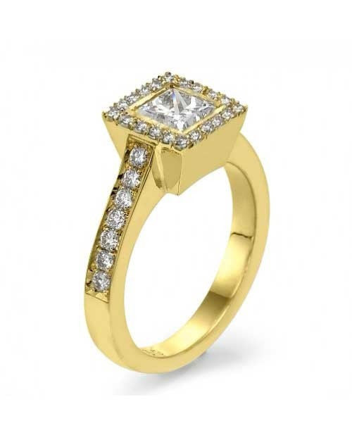 Engagement Rings Yellow Gold Princess Cut Halo Style Ring Pave Set - 1ct Diamond
