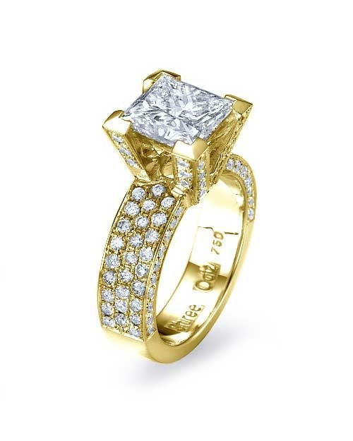 Yellow Gold Princess Cut Pave Set 3-Row Engagement Ring - 1ct Diamond - Custom Made