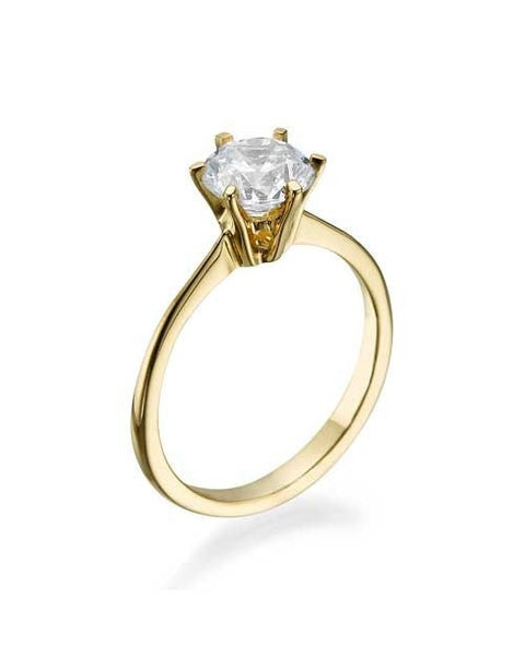Engagement Rings Yellow Gold Round Cut - Classic Design Semi Mount Settings