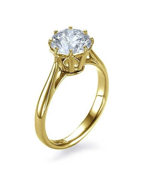 Engagement Rings Yellow Gold Round Cut Engagement Ring Vintage Basket  - 1ct Diamond