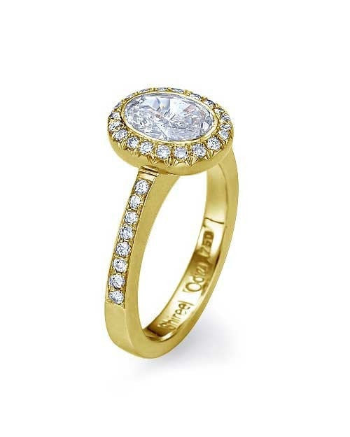 Engagement Rings Yellow Gold Round Cut Halo Engagement Rings Pave Set - 1ct Diamond