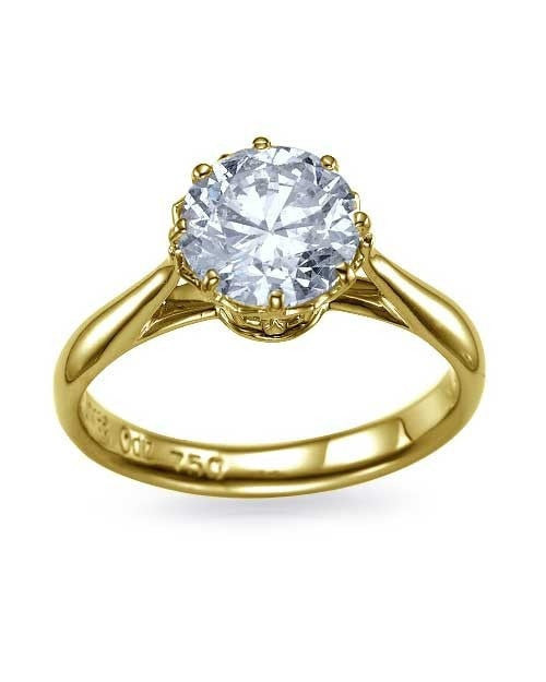 Yellow Gold Round Cut Vintage Basket Design Diamond Semi Mounts