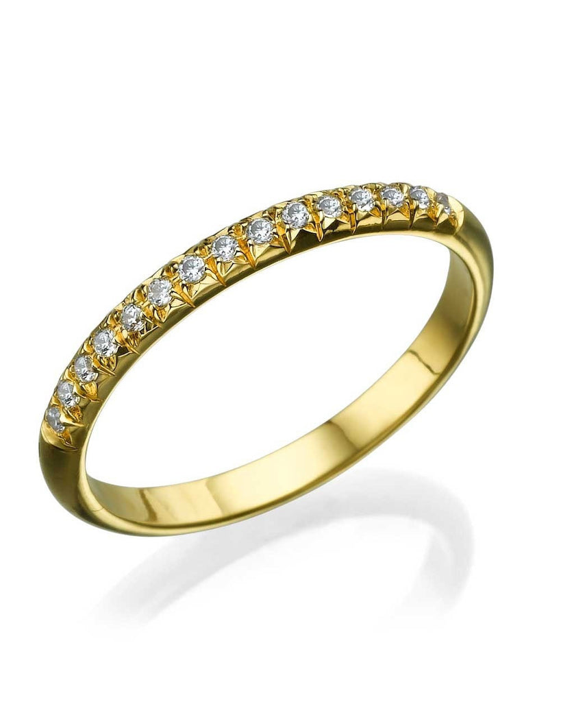 Yellow Gold Rounded Wedding Band Ring - 0.15ct Diamond Semi-Eternity - Custom Made