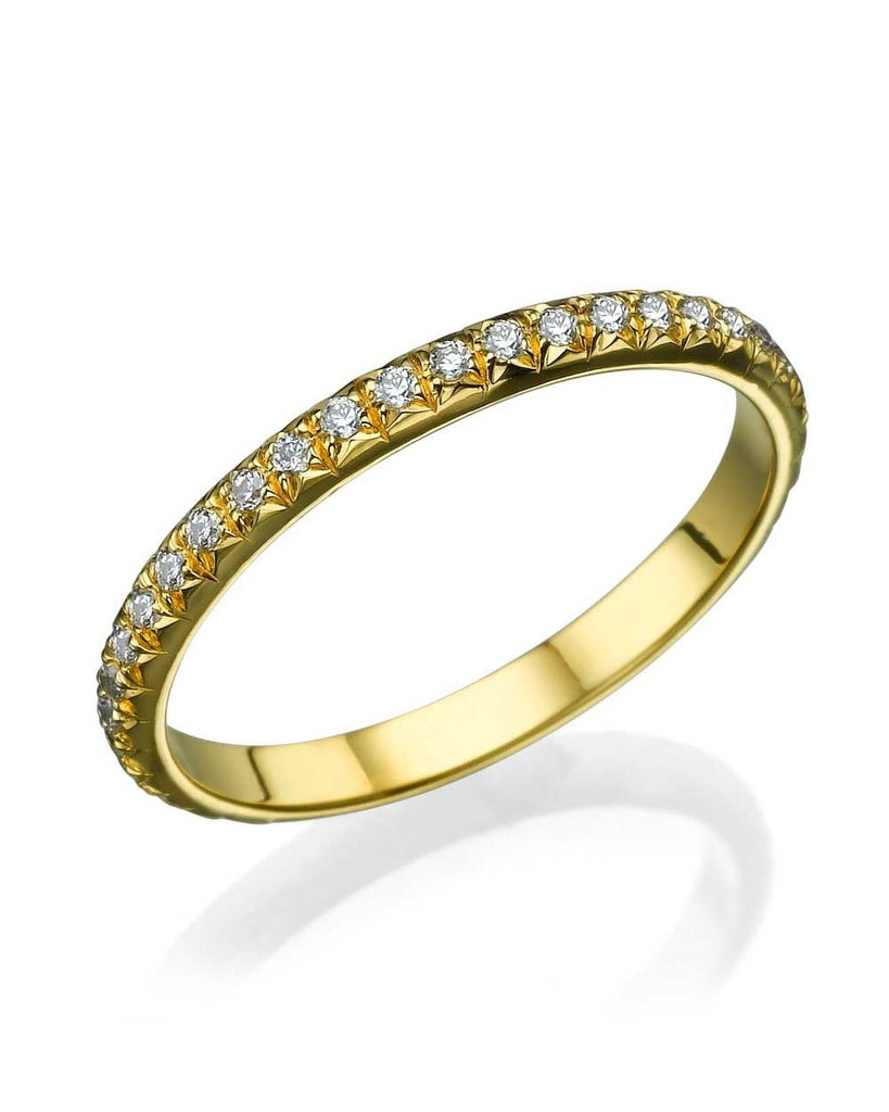 Yellow Gold Rounded Wedding Band Ring - 0.40ct Diamond Eternity - Custom Made