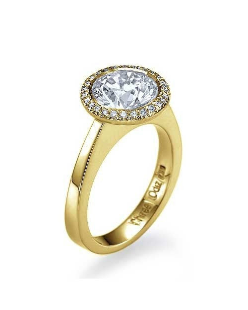 Yellow Gold Single Halo Style Engagement Ring Bezel Set - 2ct Diamond - Custom Made