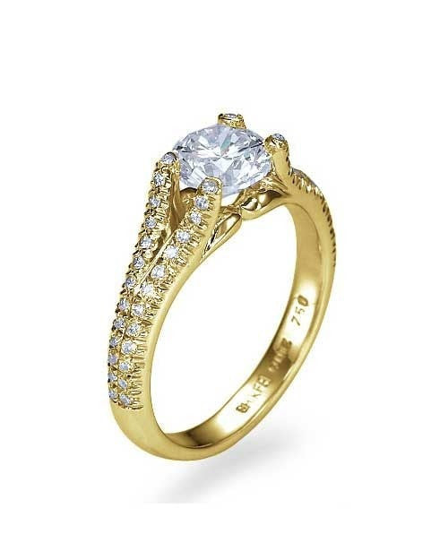Yellow Gold Split Shank Modern Round Cut Engagement Ring - 1ct Diamond - Custom Made