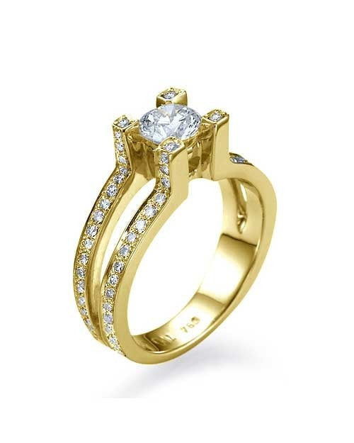 Engagement Rings Yellow Gold Split Shank Round Engagement 4 Prong Ring - 0.75ct Diamond