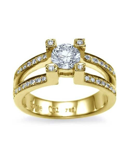 Yellow Gold Split Shank Round Engagement 4 Prong Ring - 0.75ct Diamond - Custom Made