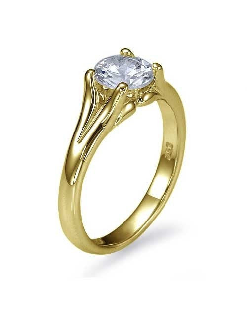 Yellow Gold Split Shank Vintage Solitaire Engagement Ring - 0.75ct Diamond - Custom Made