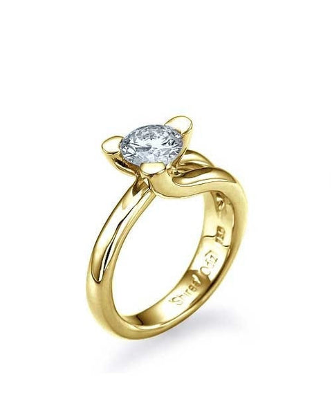 Engagement Rings Yellow Gold Tension Set Solitaire Engagement Ring 3 Prong - 1ct Diamond