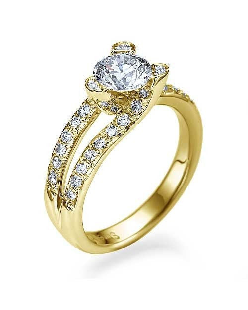 Engagement Rings Yellow Gold Tension Set Solitaire Engagement Ring Pave Set - 1ct Diamond