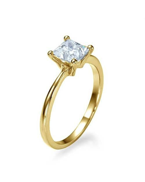 engagement rings yellow gold thin 4 prong princess cut engagement ring 1ct diamond - Princes Cut Wedding Rings