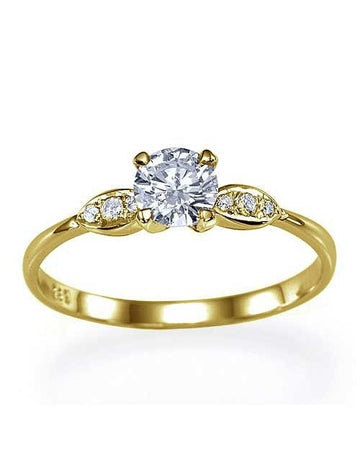 Engagement Rings Yellow Gold Thin 4-Prong Vintage Delicate Semi Mount Ring