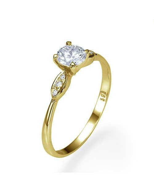 Engagement Rings Yellow Gold Thin 4-Prong Vintage Diamond Ring - 0.35 carat Center