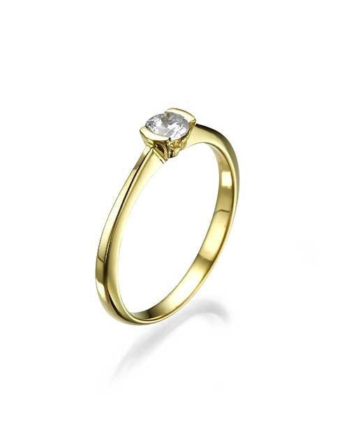 Yellow Gold Thin Delicate Small Round Engagement Ring - 0.3ct Diamond - Custom Made