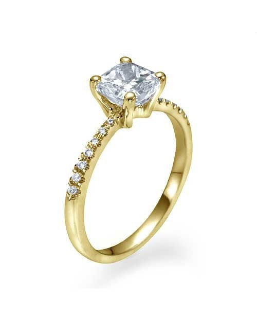 Engagement Rings Yellow Gold Thin Princess Cut Engagement Ring Pave Set - 1ct Diamond