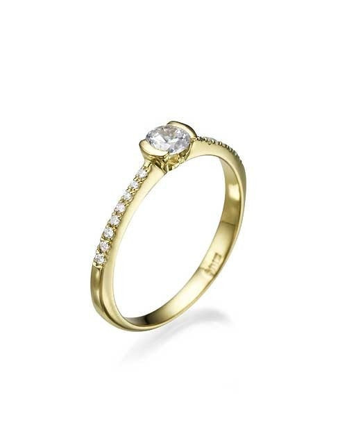 Engagement Rings Yellow Gold Thin Semi-Bezel French Pave Set Engagement Ring - 0.3ct Diamond