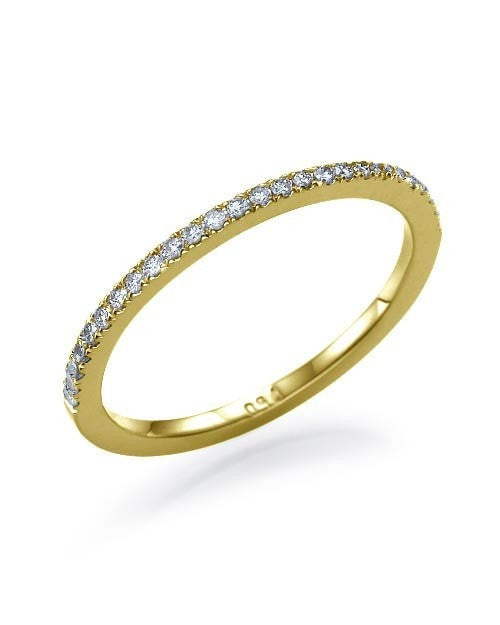 Yellow Gold Thin Wedding Band - 0.11ct Diamond Semi-Eternity Ring - Custom Made