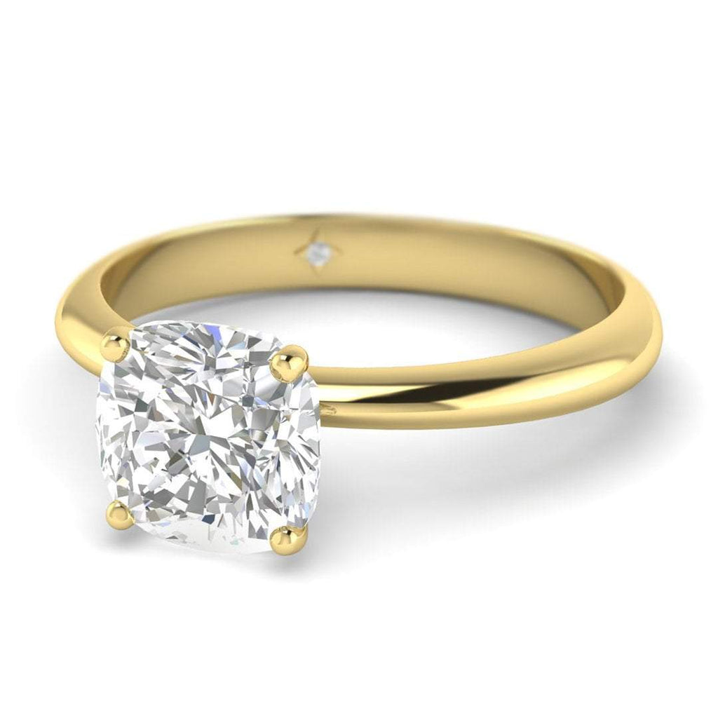 0.70 carat D/SI1 Yellow Gold Cushion Diamond Engagement Ring Timeless 4-Prong Tapered - Custom Made
