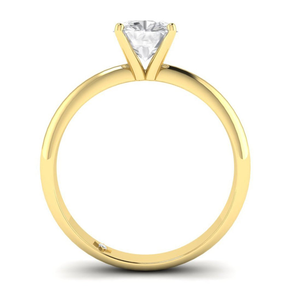 0.90 carat D/SI1 Yellow Gold Cushion Diamond Engagement Ring Timeless 4-Prong Tapered - Custom Made