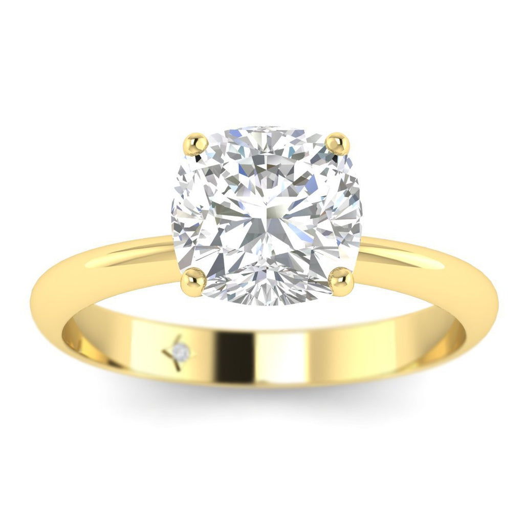 1.25 carat D/SI1 Yellow Gold Cushion Diamond Engagement Ring Timeless 4-Prong Tapered - Custom Made