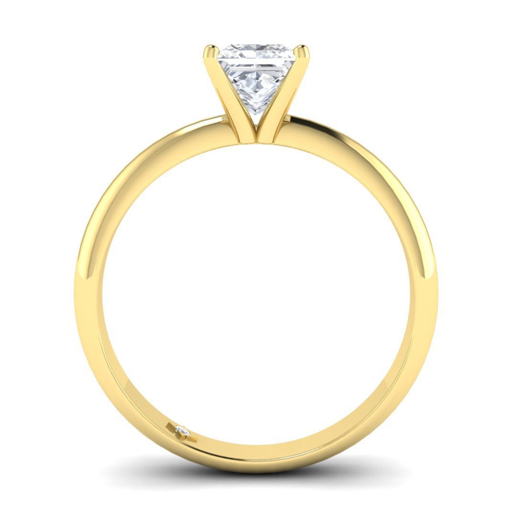 Yellow Gold 0.70 carat D/SI1 Princess Cut Diamond Engagement Ring Timeless 4-Prong Tapered - Custom Made
