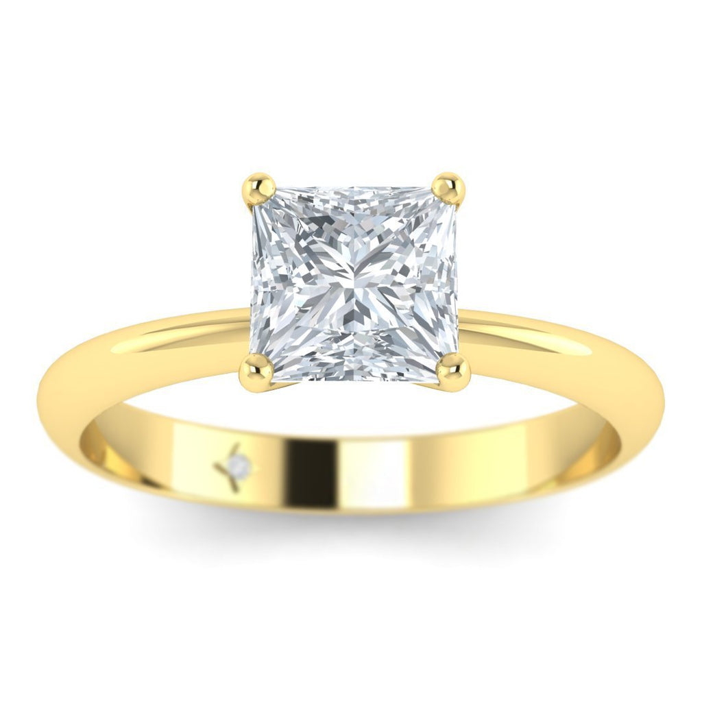 Yellow Gold 0.90 carat D/SI1 Princess Cut Diamond Engagement Ring Timeless 4-Prong Tapered - Custom Made