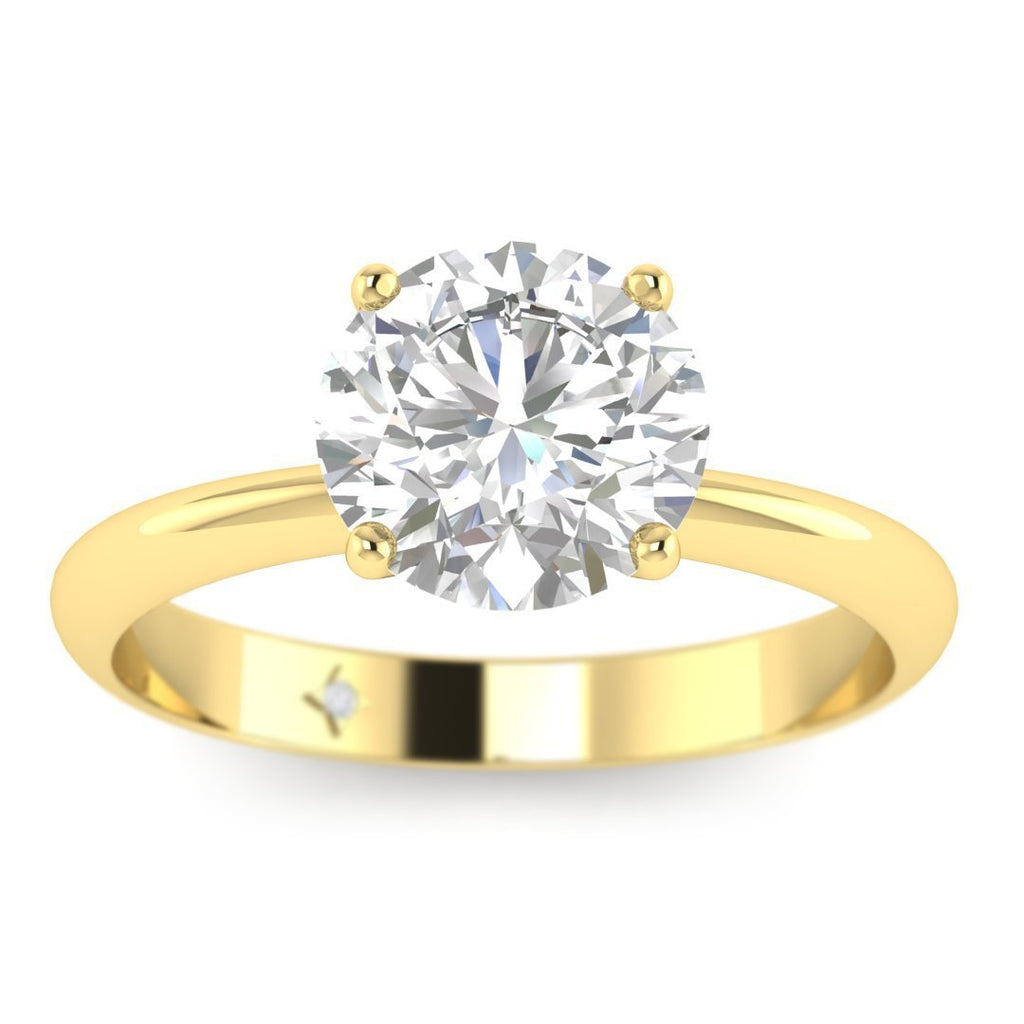 EN-SO-14-NAT-D-SI1-EX Yellow Gold Timeless 4-Prong Tapered Round Diamond Engagement Ring - 0.60 carat D/SI1 100% Natural
