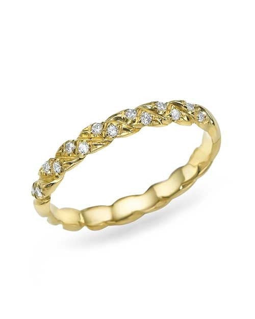 Yellow Gold Twisted 0.11ct Diamond Wedding Ring Band - Shiree Odiz