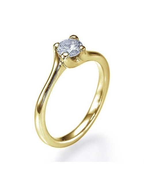 Yellow Gold Twisted Italian Engagement Ring - 0.5ct Diamond - Custom Made