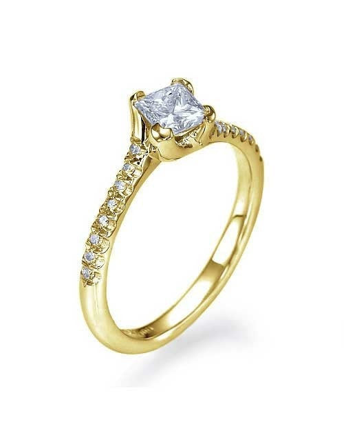 Engagement Rings Yellow Gold Twisted Italian Princess Cut Engagement Ring - 0.75ct Diamond