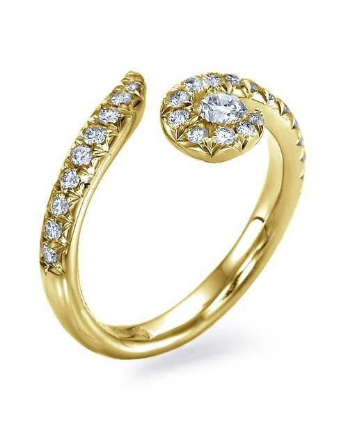 Engagement Rings Yellow Gold Twisted Spiral Avant Garde Engagement Ring - 0.2ct Diamond
