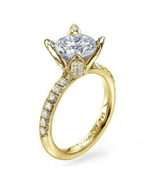 Engagement Rings Yellow Gold Unique 4-Prong Designer Diamond Rings Semi Mounts