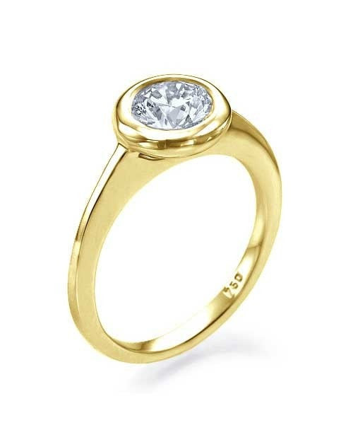 Engagement Rings Yellow Gold Unique Bezel Diamond Ring - 0.75ct Round Cut Brilliant Cut