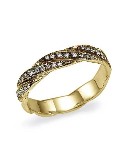 Yellow Gold Unique Designer Striped Wedding Ring - Shiree Odiz