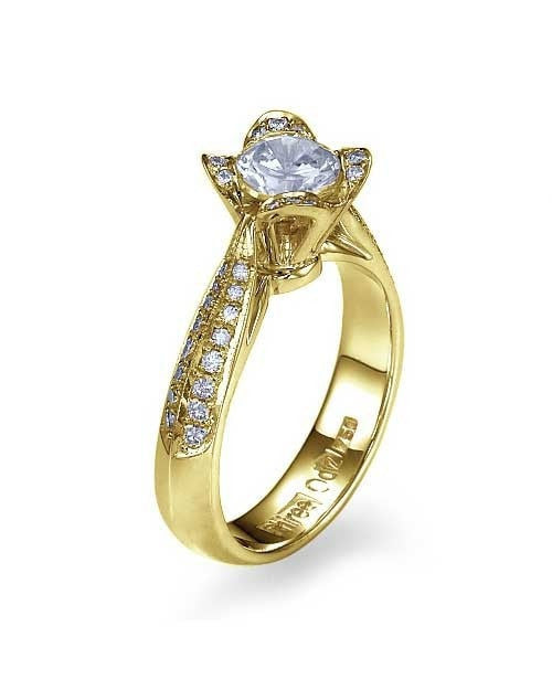 Engagement Rings Yellow Gold Unique er Flower Engagement Ring - 1ct Diamond