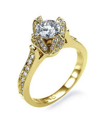 Engagement Rings Yellow Gold Unique Flower Pave Design Semi Mount