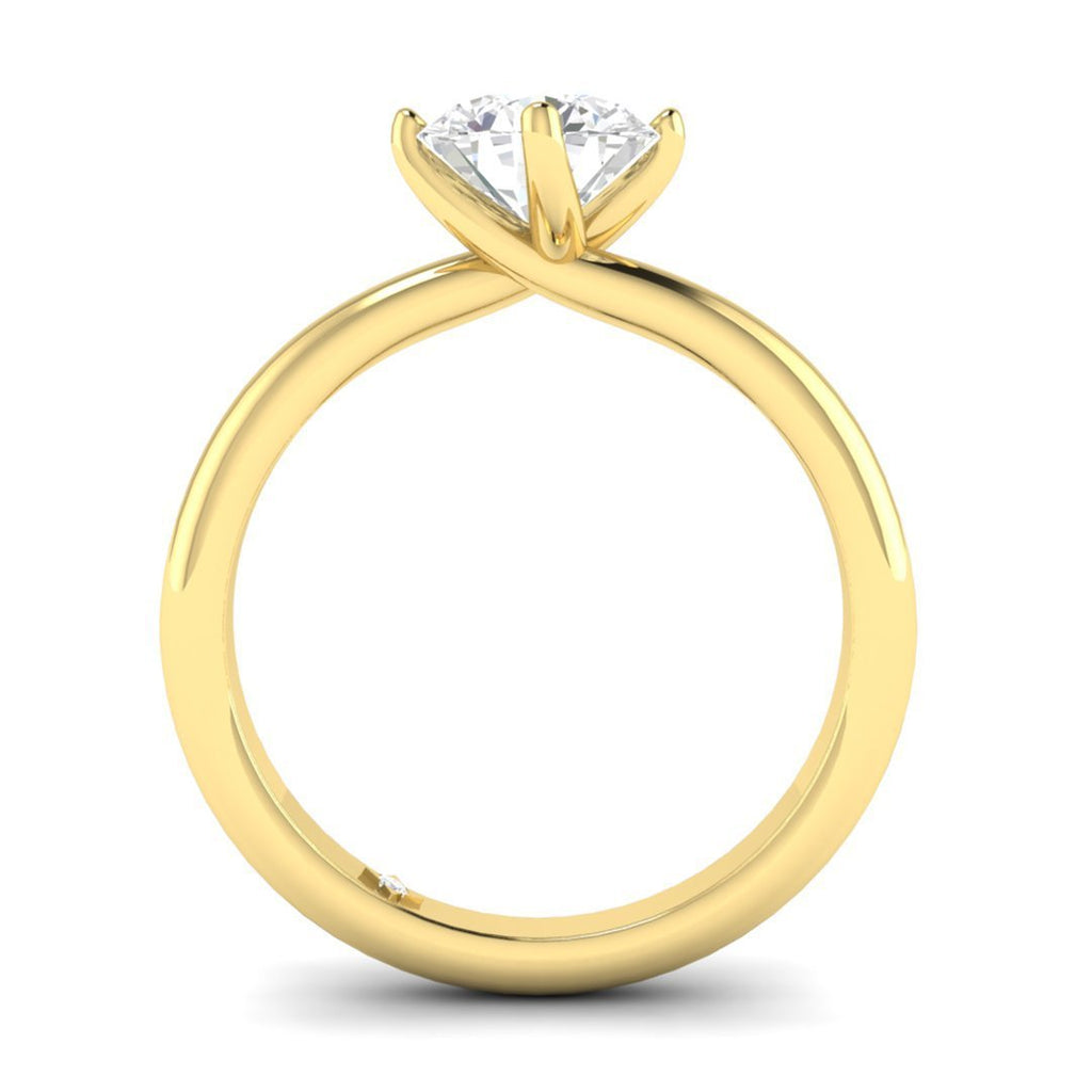 EN-SO-14-NAT-D-SI1-EX Yellow Gold Unique Twist Solitaire Round Diamond Engagement Ring - 0.60 carat D/SI1 100% Natural