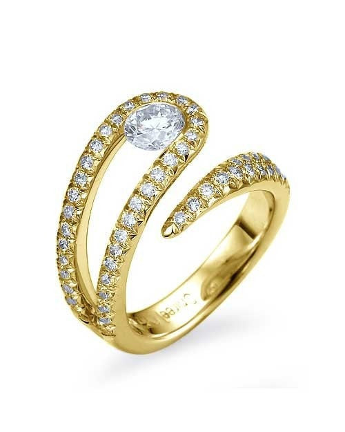 Yellow Gold Unique Twisted Unusual Engagement Ring - 0.5ct Diamond - Custom Made