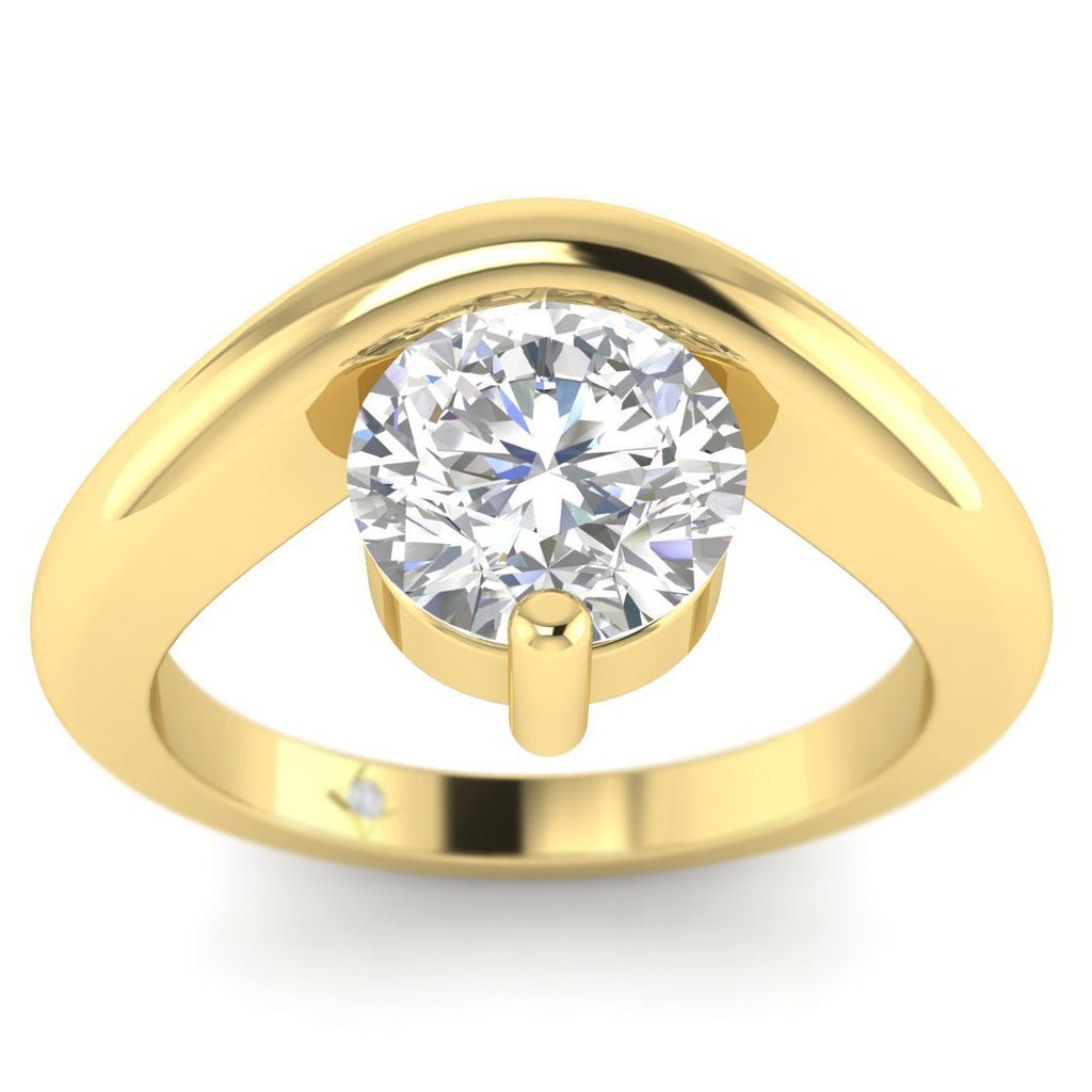 EN-SO-14-NAT-D-SI1-EX Yellow Gold Unusual Floating Designer Round Diamond Engagement Ring - 0.60 carat D/SI1 100% Natural
