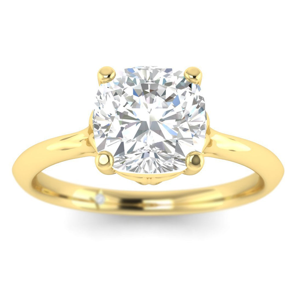 0.80 carat D/SI1 Yellow Gold Cushion Diamond Engagement Ring Vintage Antique-Style Cathedral - Custom Made