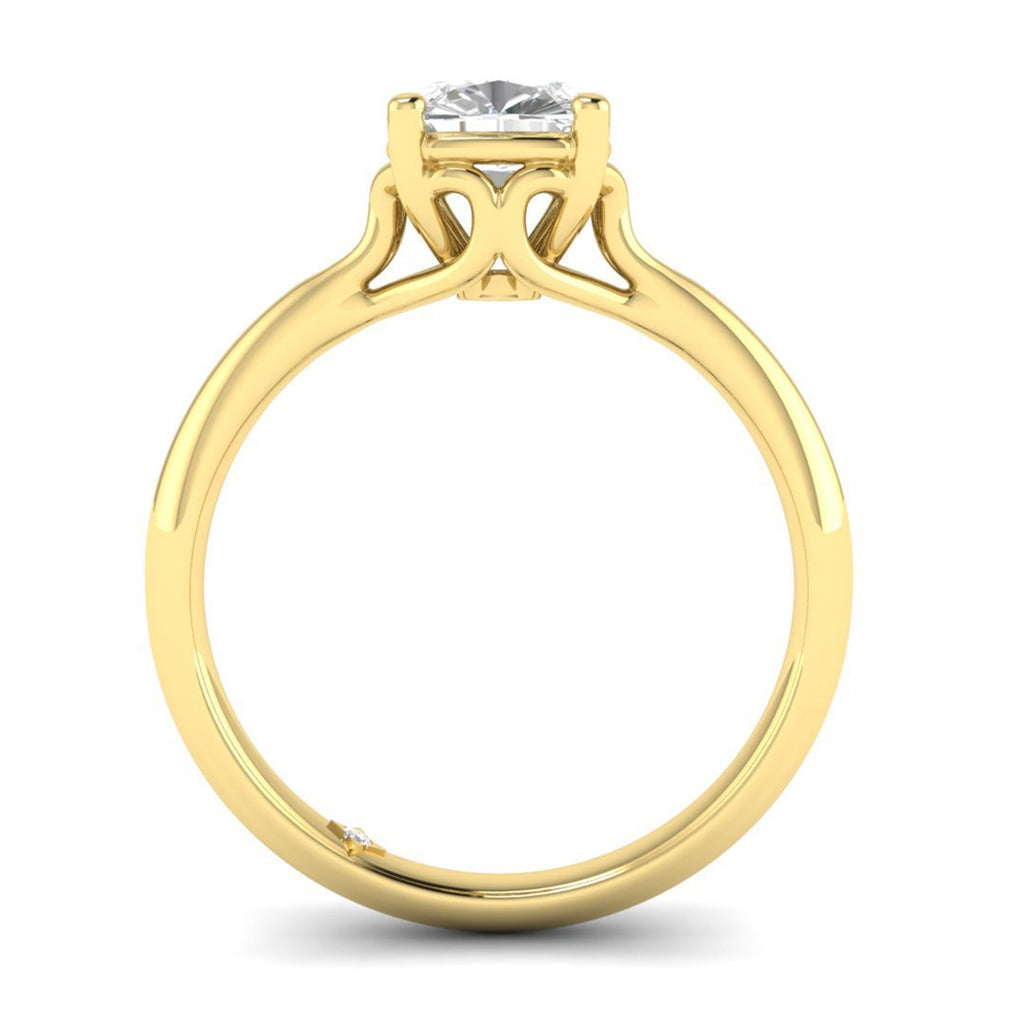 0.90 carat D/SI1 Yellow Gold Cushion Diamond Engagement Ring Vintage Antique-Style Cathedral - Custom Made