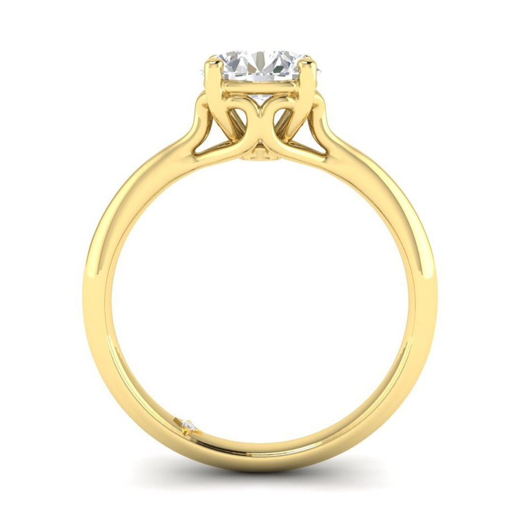 EN-SO-14-NAT-D-SI1-EX Yellow Gold Vintage Antique-Style Cathedral Round Diamond Engagement Ring - 0.60 carat D/SI1 100% Natural