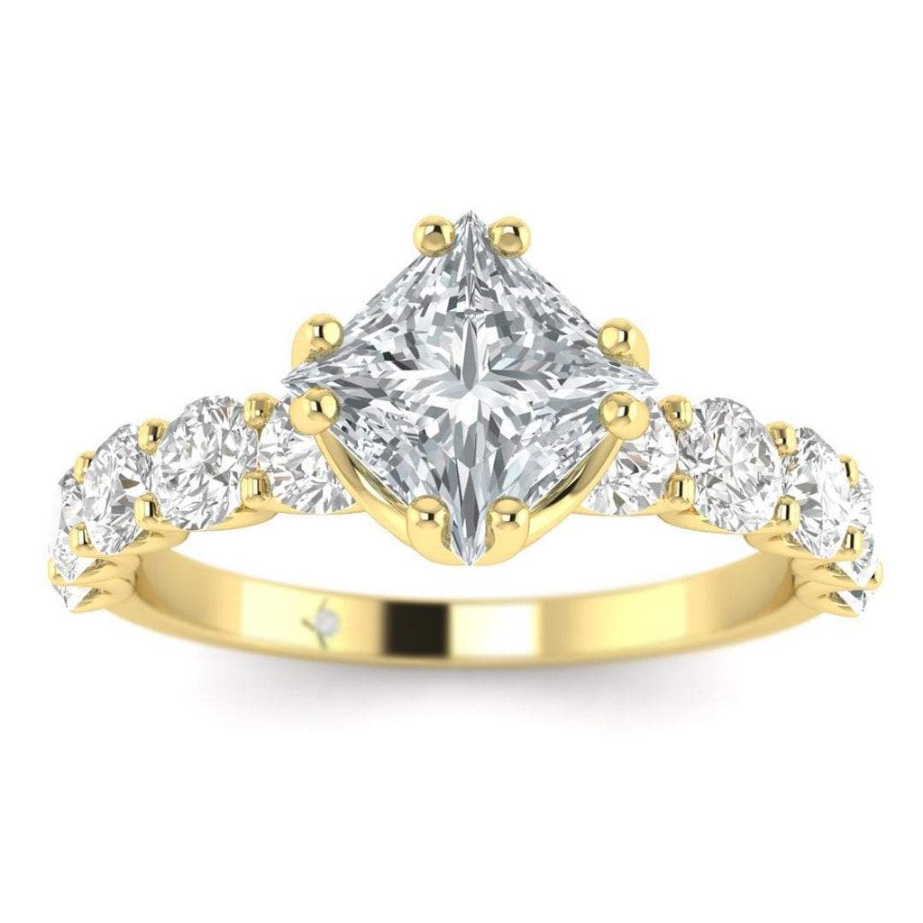 EN Yellow Gold Vintage Antique-Style Designer Princess Cut Diamond Engagement Ring