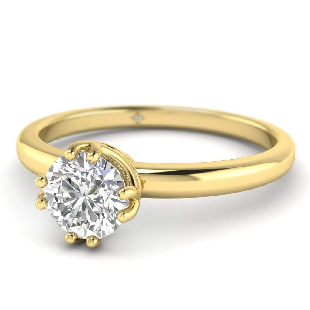 EN Yellow Gold Vintage Antique-Style Round Diamond Engagement Ring