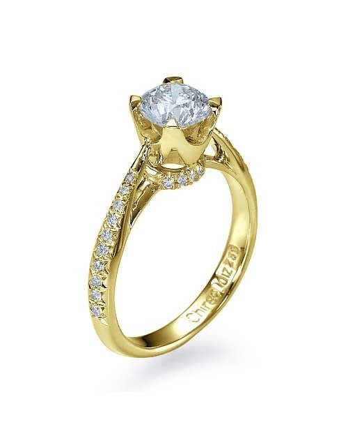15c82a2b35 Engagement Rings Yellow Gold Vintage Crown Cathedral Engagement Ring Pave  Set - 0.75ct Diamond