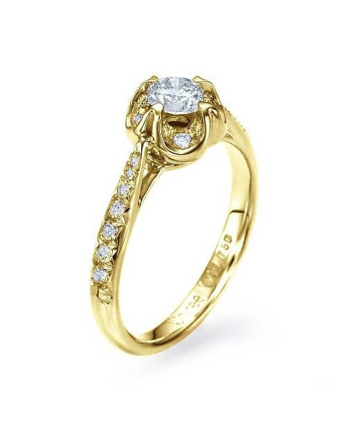 Engagement Rings Yellow Gold Vintage Flower Pave Set Engagement Ring - 0.4ct Diamond