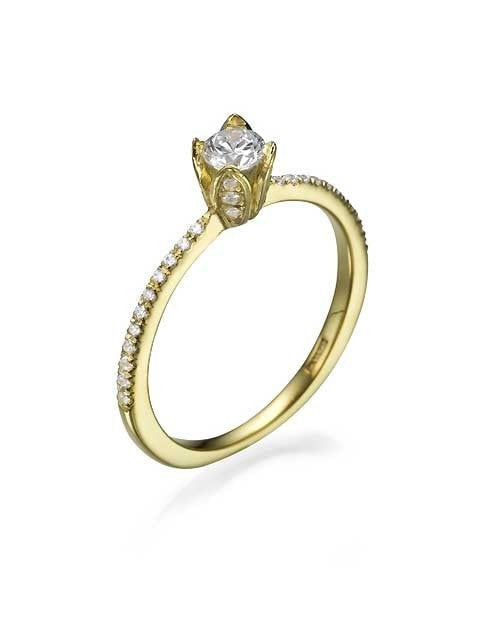 Engagement Rings Yellow Gold Vintage Flower Pave Set Round Cut Engagement Ring - 0.3ct Diamond