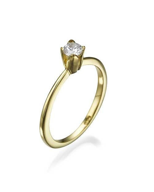 Engagement Rings Yellow Gold Vintage Setting Thin Semi Mount Engagement Rings