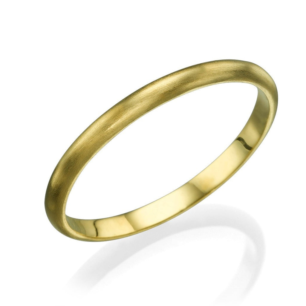 Yellow Gold Wedding Bands for Men - 2mm Rounded Brushed Matte Ring - Custom Made